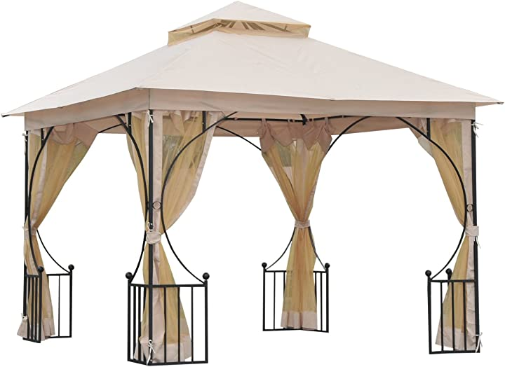 Gazebo elegante da giardino con tettuccio traspirante metallo e poliestere 3x3m beige outsunny 84C-005