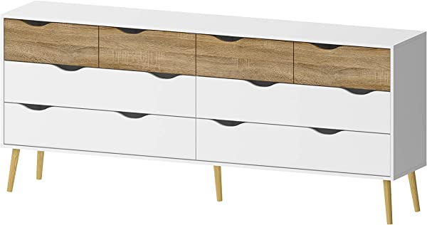Tvilum 7545549ak Diana 8 Drawer Dresser White Oak Structure