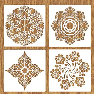 Large Stencils 4 Pack Reusable Painting Template, 12x12 Inch Stencils for Painting on Wood, Wall, Floor, Tile, Fabric, Furniture Decor, Mandala Stencils for Wood Burning, Carving, Craft, DIY Project