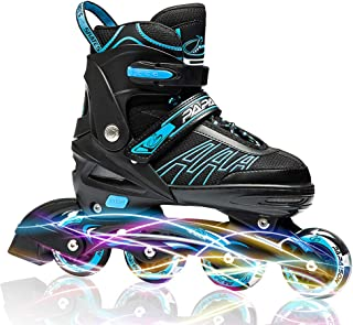 ITurnGlow Adjustable Inline Skates for Kids and Adults, Roller Skates with Featuring All..