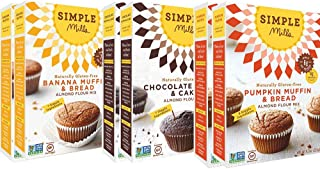 Simple Mills Almond Flour Mix Variety Pack, Banana Muffin & Bread, Chocolate Muffin & Cake, Pumpkin Muffin & Bread, 10.4 Ounce, 6 Count, Combo 1