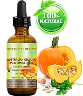 Botanical Beauty Organic Pumpkin Seed Oil Australian. 100% Pure / Natural / Undiluted /Unrefined Cold Pressed Carrier Oil. 4 Fl.oz.- 120 ml. For Skin, Hair, Lip And Nail Care.