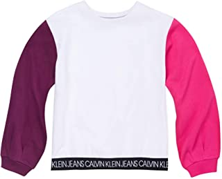 CALVIN KLEIN Girls Crew Neck Fleece Sweatshirt Hooded Sweatshirt - Pink - 6
