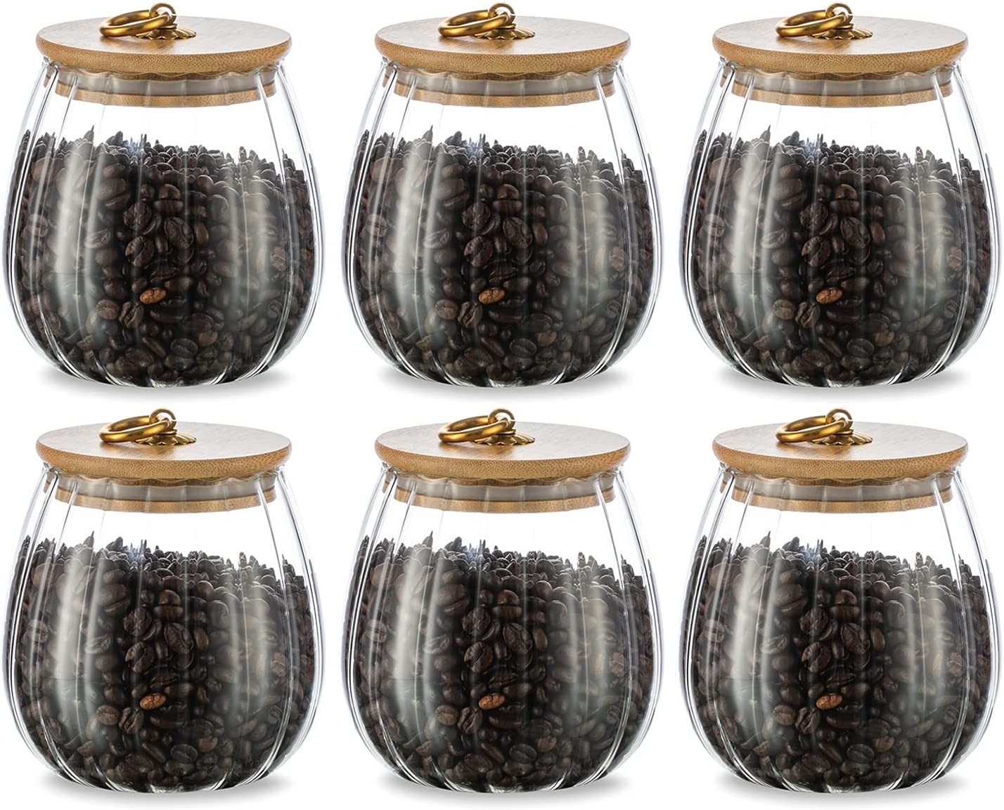 Glasseam Coffee Jar Mail order for Counter 6p Set Canister Portland Mall Sugar Tea