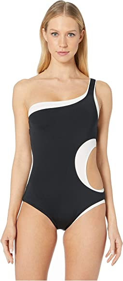 Color Block Layered One Shoulder One-Piece