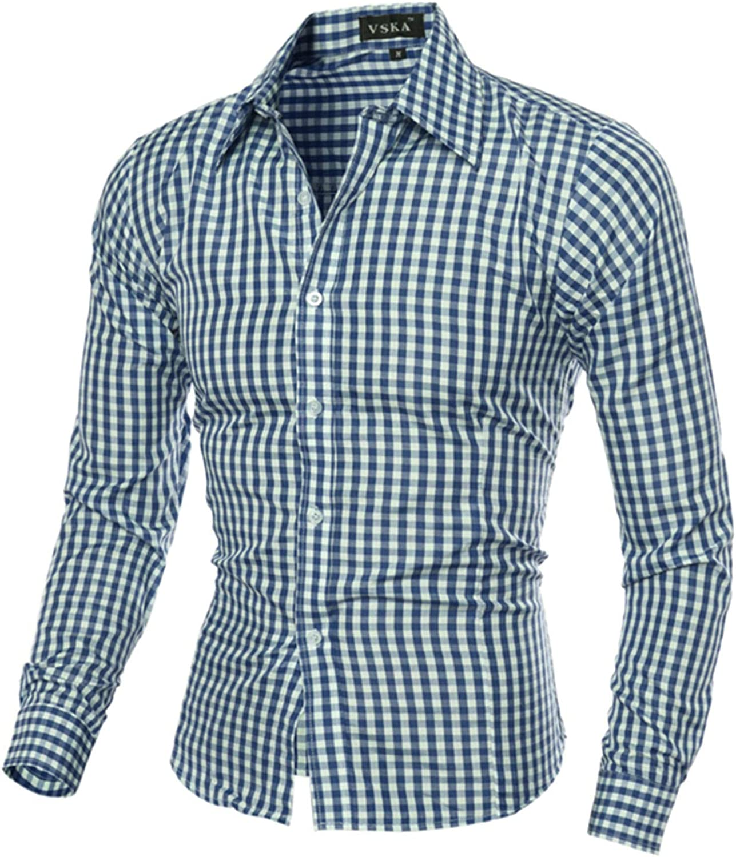 Huangse Men's Plaid Shirt Long Sleeve Casual Button Down Shirt Slim Fit Business Dress Shirts