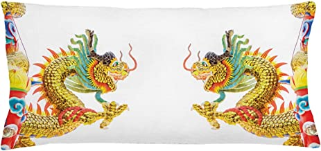 Ambesonne Dragon Throw Pillow Cushion Cover, Chinese Style Dragon Power Oriental Culture Theme, Decorative Rectangle Accent Pillow Case, 36 X 16, Yellow Orange