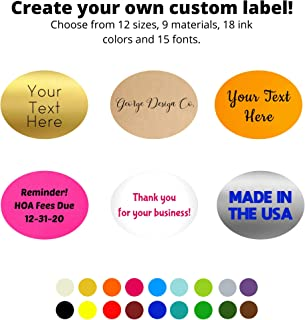 "Custom One Color Sticker - Customize Your Size, Paper, Ink and Font - Personalized Labels (2"" X 3"" Oval)"