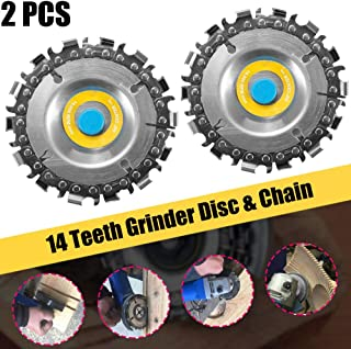 POLIFE Circular Saw Blade Cutter Tool 2 PCS, Cordless Saw Blades for 100/115 Angle Grinder, Disc Plunge Wood Cut Wheel, Chain 14 Teeth Cutting Set Chop Saws, Perfect for Wood Plastic Ice R (2 PCS)