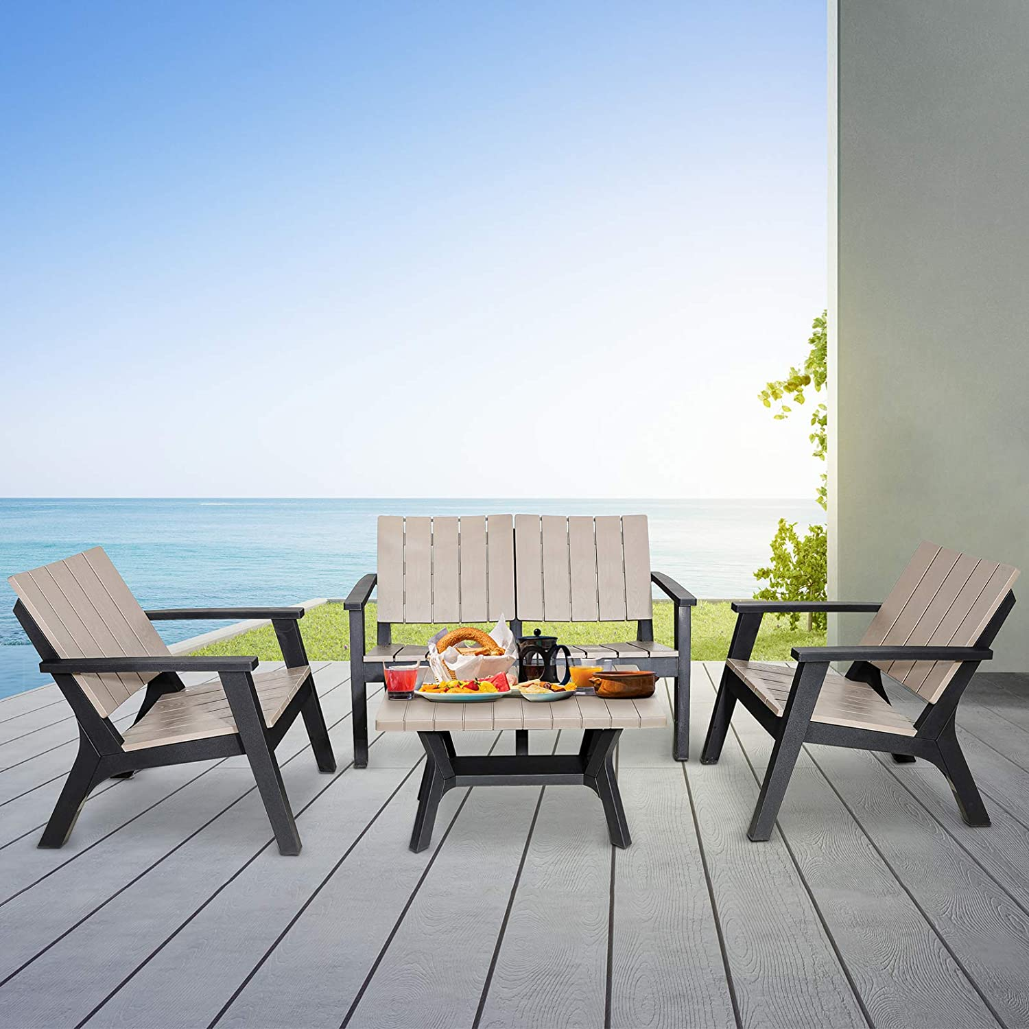 Ultra-Cheap All stores are sold Deals Cozy Castle 4 Pieces Patio Furniture a Sets Outdoor Resin Table