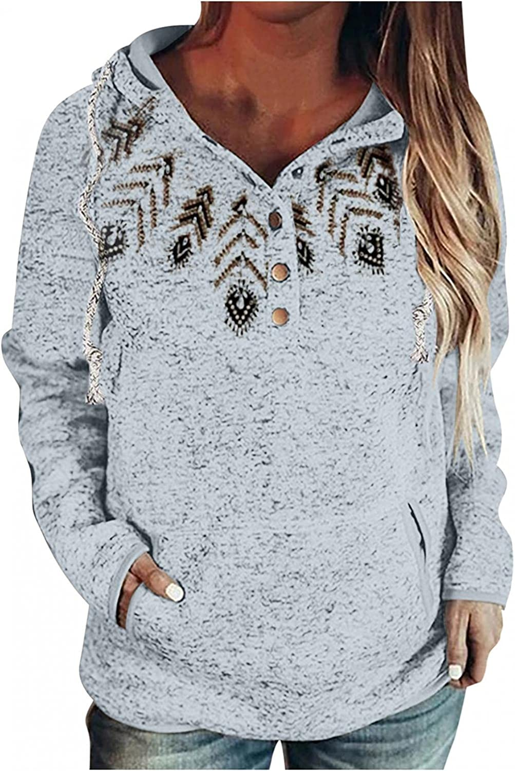 felwors Sweatshirt for Women, Womens Hoodies Button Collar Drawstring Long Sleeve Casual Pullover Tops with Pockets