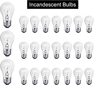 40-Watt Appliance Replacement Bulbs Light Bulb A15 Refrigerator Bulb Clear Ceiling Fan Bulbs Medium (E26) Standard Household Base Crystal Clear, Pack of 24