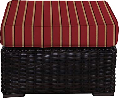 Envelor Santa Monica Outdoor Patio Furniture Durable Wicker Rattan Ottoman Stool Foot Rest Includes Harwood Crimson Sunbrella