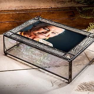 Memory Box Personalized Bereavement Gift Funeral Sympathy Decorative Photo Storage Engraved Glass Keepsake Memorial Display Case J Devlin Pbox 402 PBE255