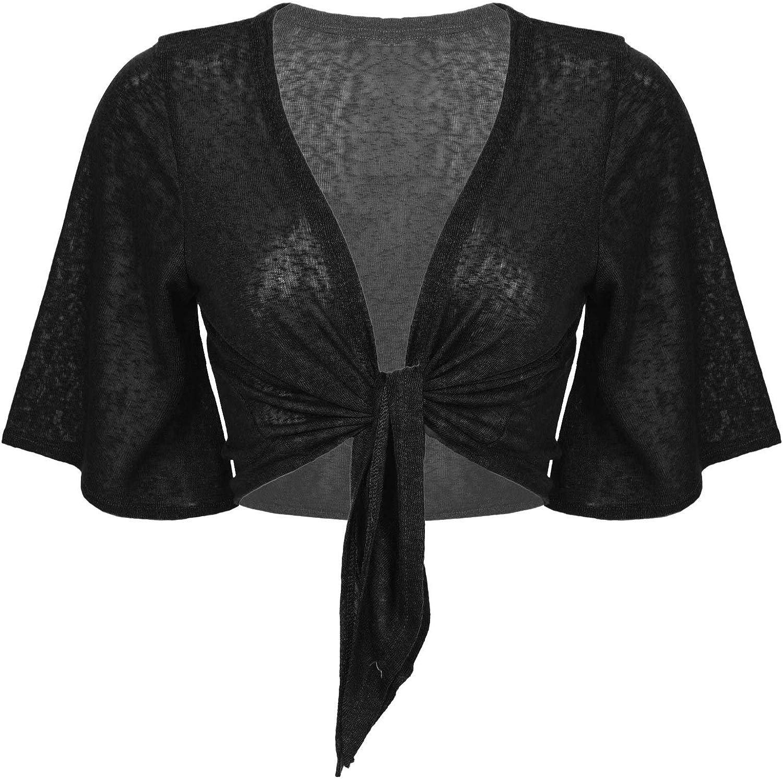 Haitryli Women Sheer Short Sleeve Shrug Cardigan Lightweight Knit Open Front Sweater Bolero