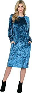 Maya's Place Molly Dress  Women's Long Sleeve Crushed Velvet Dress with Pockets 