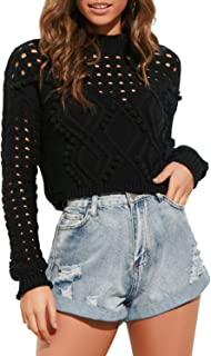 Sollinarry Women's Long Sleeve Knit Crop Top Hollow Out Pullover Sweater