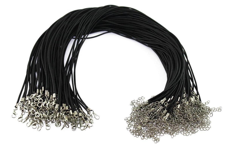 分類する許可アドバンテージOlive-G 100本セット レザー チョーカー PU 紐 金具 付 セット ネックレス ひも 合皮 ハンドメイド 手芸 ブラック