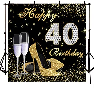 Mocsicka Happy 40th Birthday Backdrop 8x8ft High Heels Elegant Lady Photography Backdrops Platinum Diamond Backdrop for Pictures Gold Glitter Sparkly Backdrop