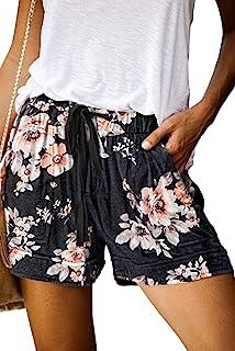 FANGJIN Damen Shorts Kordelzug weitem Bein elastischer Taille Kurze Hosen Tasche