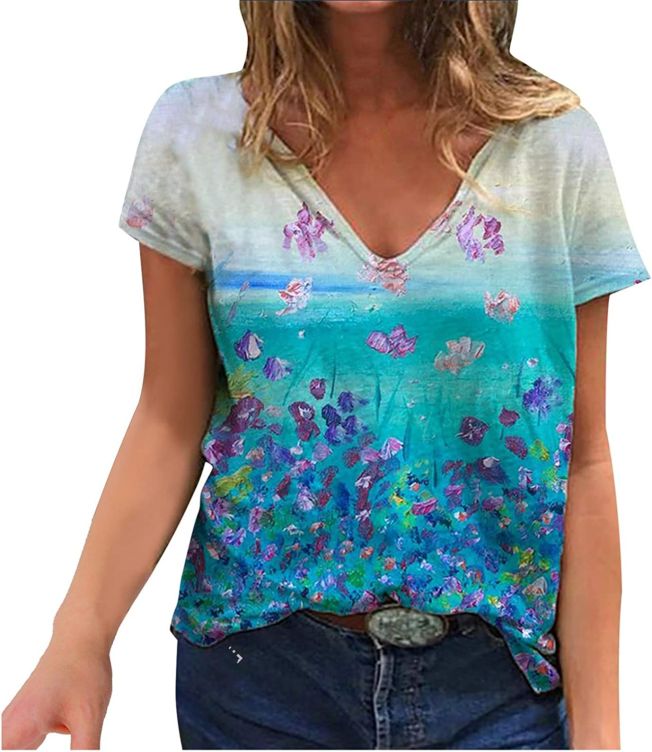 Retro Printed T Shirts for Women,Colorful Print V Neck Short Sleeve Summer Plus Size Tops