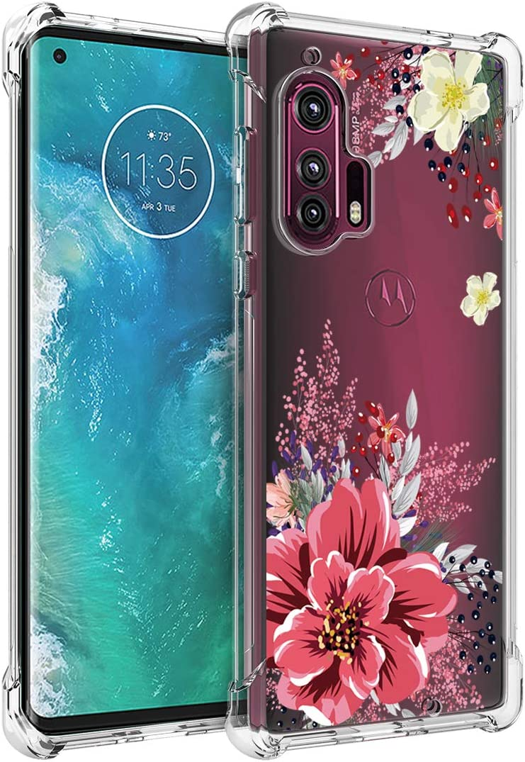Osophter for Moto Edge Plus Case Clear Moto Edge+ Case Transparent Reinforced Corners TPU Shock-Absorption Flexible Cell Phone Cover for Motorola Moto Edge+(Red Flower)