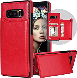 Galaxy Note 8 Wallet Case for Women/Men,Auker Folding Stand Folio Flip Leather Slim Wallet Case with Card Holder Magnetic Closure Secure Fit Protective Purse Case for Samsung Galaxy Note8 (Red)