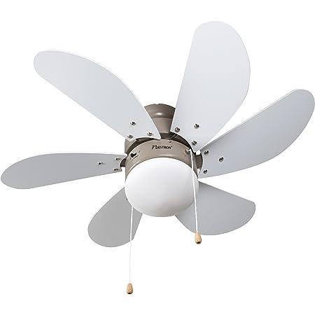 Bestron Ventilateur de plafond avec lampe, Ø 75 cm, 50 W, Érable/Blanc