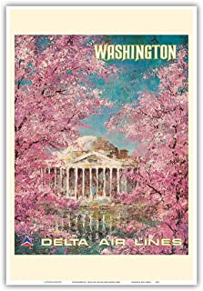 Pacifica Island Art Washington DC - White House - Delta Air Lines - Vintage Airline Travel Poster by Jack Laycox c.1960s - Master Art Print - 13in x 19in