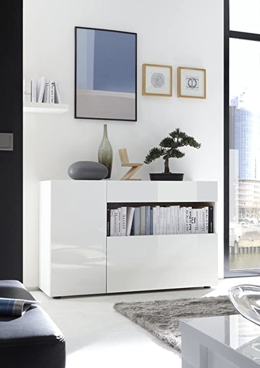 mobiletto ingresso moderno nike bianco lucido soggiorno sala design mobile contenitore web convenienza b077n49h4q