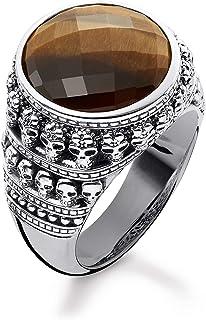 THOMAS Sabo 中性款环形骷髅 925 纯银,黑色 TR2005-826-2