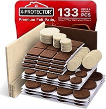 X-PROTECTOR Premium Twee Kleuren Pack Meubelpads 133 Stuk! Vilt Pads Meubelvoeten Bruin 106 + Beige 27 Verschillende Maten...