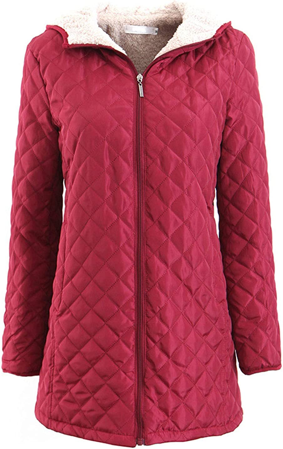 Flygo Women's Diamond Quilt Coat Hood Lined Seasonal Wrap Introduction Max 73% OFF Zipper Sherpa Fleece