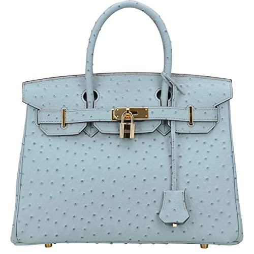 86c1a394d302 Cherish Kiss Women s Handbags Top Handle Padlock Bags Genuine Leather  Embossed Ostrich Purses