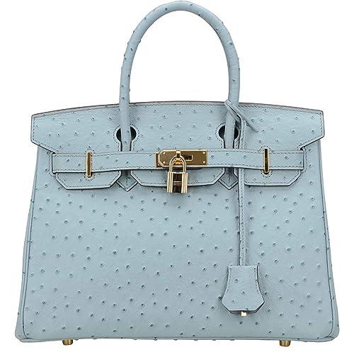 728abaa5a05 Cherish Kiss Women s Handbags Top Handle Padlock Bags Genuine Leather  Embossed Ostrich Purses