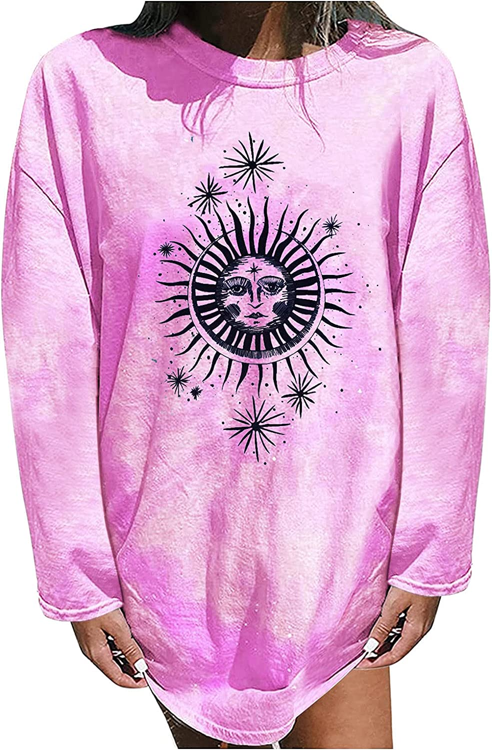 Women Sun and Moon Tie Dye T-Shirt Round Neck Long Sleeve Tops Pullovers Casual Funny Cute Teen Girl Tee Fall