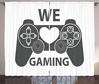 Lunarable Gamer Curtains, We Love Gaming Words Greyscale Controller Design with Heart in The Middle, Living Room Bedroom Window Drapes 2 Panel Set, 108