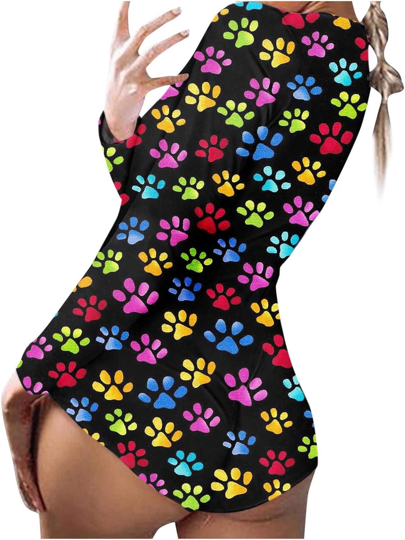 naioewe Womens One Piece Pajamas Women Casual Print Long Sleeve Nightwear Jumpsuit Bodysuit Playsuit Romper Sleepwear