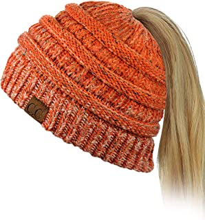 1add19f492839 C.C BeanieTail Soft Stretch Cable Knit Messy High Bun Ponytail Beanie Hat