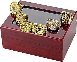 LEMOISTARS 6Pcs Pittsburgh Steelers Super Bowl Championship Ring Set with A Cherrywood Display Case