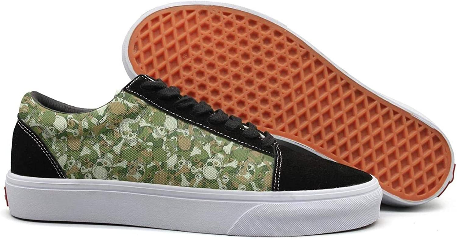 Uieort Army Camo Skull Womens Lace Up Canvas shoes Comfortable