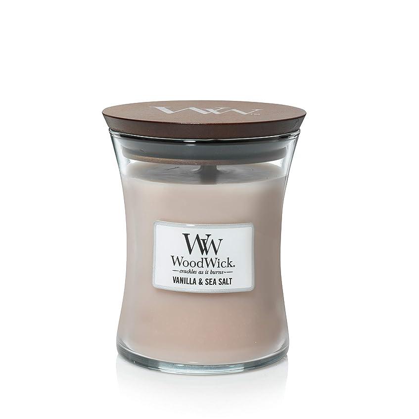 シャンパンセント球体バニラSea Salt WoodWick 10?oz Medium砂時計Jar Candle Burns 100時間
