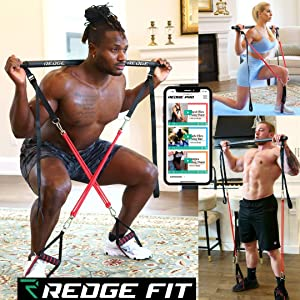 Redge Fit Complete Portable Home Gym Workout Set I Resistance Bands for Beginners to Elite Athletes I Collapsible Resistance Bar I Full Body Workouts from Home Gym or Park I Train Insane