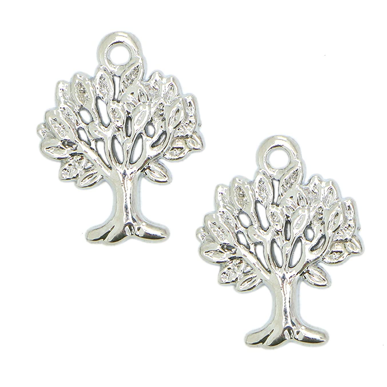 Monrocco 80Pcs Antique Silver Tree of Life Charms Pendants Alloy Charms Pendants for Jewelry Making and Crafting