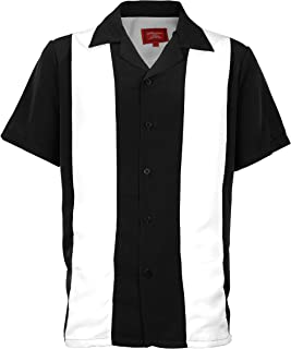Men's Retro Charlie Sheen Two Tone Guayabera Bowling Casual Dress Shirt