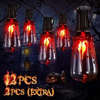 YUNLIGHTS Halloween String Lights, 15.7FT Halloween Decorative Sting String Lights with 12PCS ST40 LED Bulbs, IP45 Waterproof Hanging String Lights for Patio, Backyard, Halloween, Party Decoration