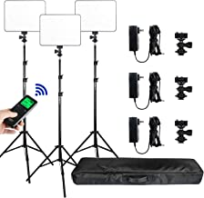 (3 Packs) VILROX Bi-Color 3300K-5600K 30W Dimmable LED Video Light Panel Lighting Kit,CRI 95+ Wide Angel LED Panel with Remote Controller/AC adapter/75 inches Light Stand for Studio Shooting