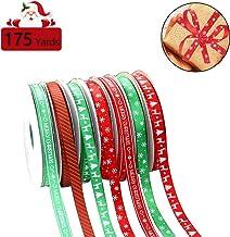175 Yards Christmas Gift Ribbons - Christmas Wrapping Printed Grosgrain Satin Fabric Ribbon Thin Merry Christmas Ribbons f...
