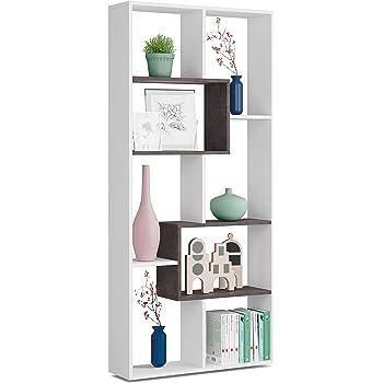 Habitdesign Kawa Etagere Bibliotheque De Bureau 80 Cm X 180 Cm Hauteur X 25 Cm Profondeur Contreplaque Blanc Et Oxyde Amazon Fr Cuisine Maison