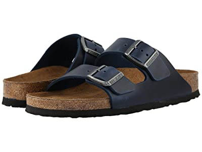 Birkenstock Arizona Soft Footbed Leather (Unisex) (Blue Oiled Leather) Sandals